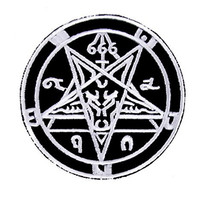 Baphomet Patch Black with White Iron On Applique