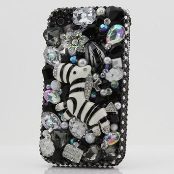 iphone 5 5S 5C 4/4S - Samsung Galaxy S3 S4 Note 2 / 3 - Handcrafted Case Cover 3D Luxury Bling Crystal Diamond Cute Black Zebra Fantasy _303