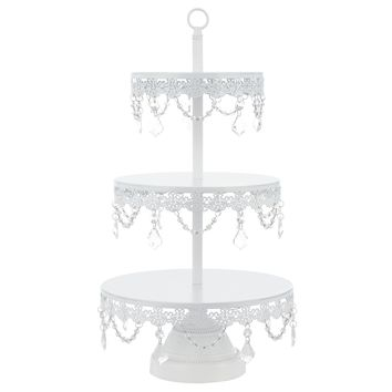 3-Tier Crystal-Draped Dessert Cupcake Stand (White)