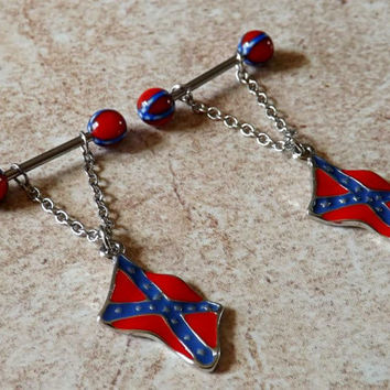 Nipple Ring Rebel Flag Confederate Flag from YourJewelryHut