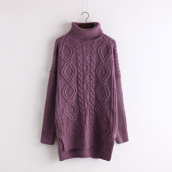 Solid Color Cable Long Pullover Knit Sweater