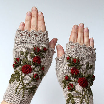 Knitted Fingerless Gloves, Gloves & Mittens, Gift Ideas, For Her, Winter Accessories, Beige, Roses, Mother's Day Gifts,Fashion, Accessories