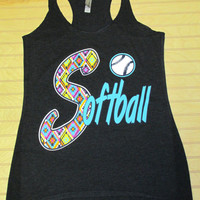 Tri Blend Racerback Tank Top Softball Multi Color Diamonds Pattern