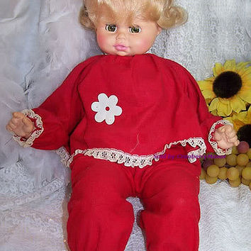 "Horsman Doll, 1974 Crier Girl Toy in Red Pajamas, 23"" Extra Large Collectibles, Blonde Hair, Vintage Home Decor Display D085"