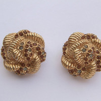 Antique jewelry, vintage designer Hattie Carnegie rhinestone earrings, gold enamel clip on earrings, Pittsburgh