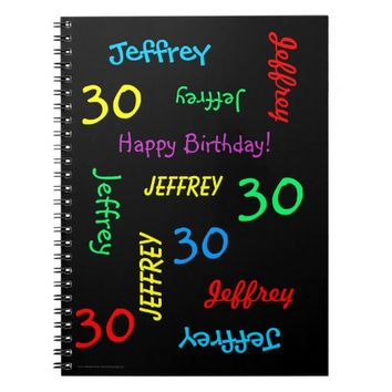 30th Birthday Party Guest Book, Repeat Name Black Notebook