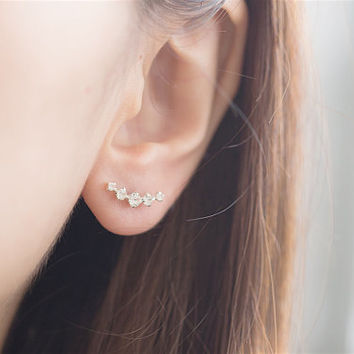 Curve CZ Earrings, CZ Earrings, Ear Climber, Curve Ear Climber, Ear Sweep, Ear Crawler, Crystal Earrings, Ear Cuff, Crystal Ear Climber