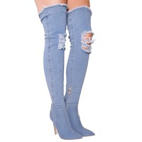 Destiny Mid Blue Denim Over The Knee Boots