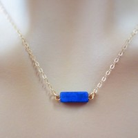 Lapis, Lazuli, Blue, Bar, Gold filled, Sterling silver, Necklace