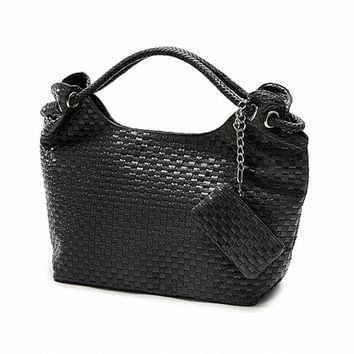Casual Women Handbag and Purse Shoulder Bags Hobos Weave PU Leather Bag Female Bolas Tote Beige Black Plaited Bolsas Femininas