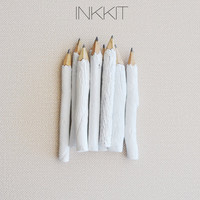 "white twig pencils - hand painted 4"" (10 pencils)"