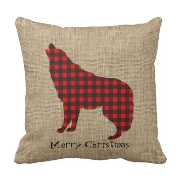 Burlap & Lumberjack Plaid Wolf Throw Pillow