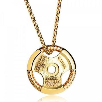 Vintage Alloy Round Necklace For Men - Golden