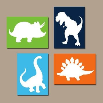 DINOSAUR Wall Art, Dinosaur Canvas or Prints, DINOSAUR Theme, Baby Nursery Decor, Big Boy Bedroom Pictures, DINO Set of 4 Decor Wall Decor