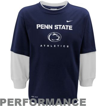 Nike Penn State Nittany Lions Youth 2Fer Long Sleeve Dri-FIT Performance T-Shirt - Navy Blue