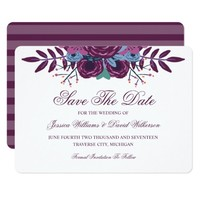 Violet Watercolor Save The Date Announcements