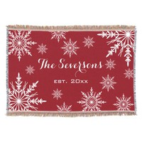 Personalized White Winter Snowflakes on Red Throw Blanket