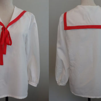 60's Vintage preppy Bond GirL Middy Blouse White Tunic  Sailor Shirt