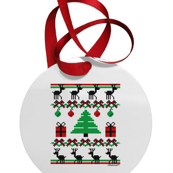 Tree with Gifts Ugly Christmas Sweater Circular Metal Ornament