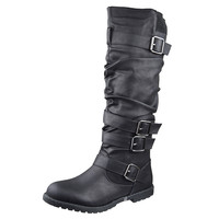 Womens Knee High Boots Strappy Ruched Leather Casual Comfort Shoes Black SZ