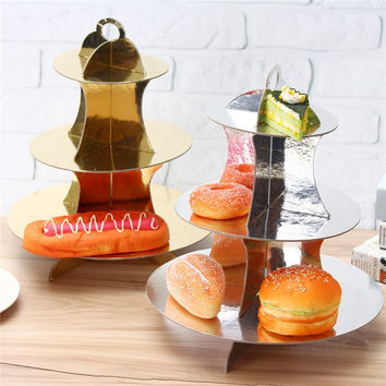 DIY 3 Tiers Paper Cupcake Stand Dessert Bread Storage Holder