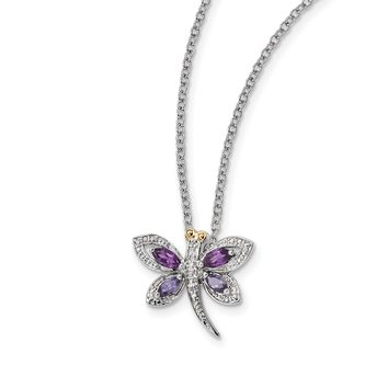 Sterling Silver And 14K Amethyst And Iolite And Diamond Dragonfly Necklace