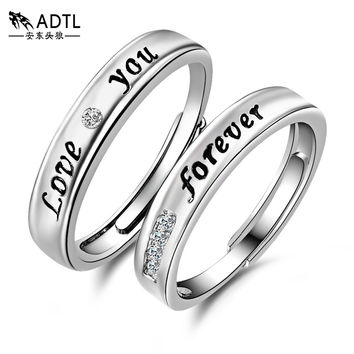 ADTL I LOVE YOU FOREVER Genuine 925 Sterling Silver Adjustable Studded Eternity Rings For Lovers Engagement Wedding Rings Set