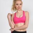 Padded Double X Back Sports Bra - Neon Pink