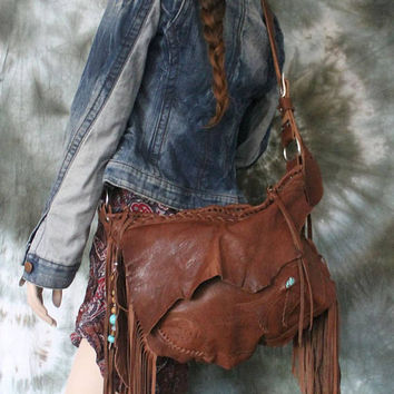 Brown leather bag hobo tribal bird turquoise swallow bohemian boho festival  purse sweet smoke free people distressed bag moroccan