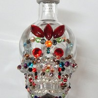 Crystal Head Vodka sugar skull home decor with red, sun orange, green, pink and blue Swarovski crystals in Dia de Muertos / Day of the Dead theme