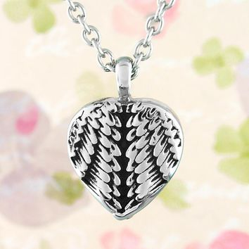 Heart-Shaped Angel Wing Memorial Urn Necklace