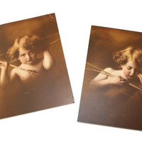 Antique photo prints Cupid Asleep No 2830 and Cupid Awake No 2829 1897 Photographs by M.B.Parkinson. Sepia prints. Valentines gift