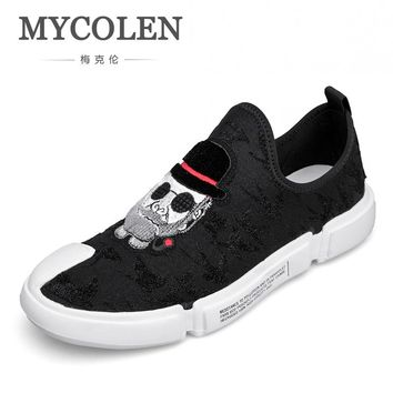 MYCOLEN 2018 The New Listing Men Canvas Shoes For Men Fashion Slip On Flats Brand Fashion Mens Casual Shoes Sapato Branco