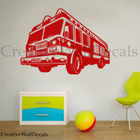 Vinyl Wall Decal Sticker Fire Car firefighter fire engine Boys Kids room r1782