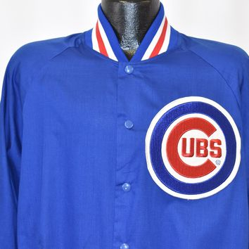 80s Chicago Cubs  Majestic Snap Up Windbreaker Jacket Large