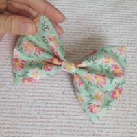Mint Floral Hair Bow, Vintage Bow, Hairbow, Floral Hairbow, Big Flower Bow