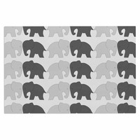 "NL Designs ""Elephants On Parade"" Gray Animals Decorative Door Mat"
