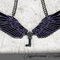 Black Raven Wings Acrylic Laser Cut Statement Necklace - Goth, Fantasy, Steampunk, Tribal