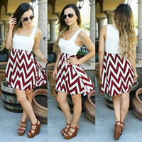 GAME DAY CHEVRON DRESS IN WHITE/MAROON MULTI