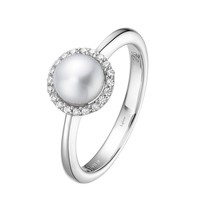 Lafonn Freshwater Pearl and Simulated Diamond Halo Birthstone Ring