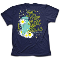 Cherished Girl Let Your Light Shine Mason Jar Lightning Bug Girlie Christian Bright T Shirt