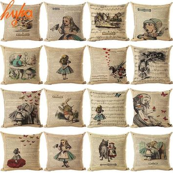 DCCKL72 Vintage Cushion Cover Illustration Cushion Rabbit Praiser in Newspaper Alice in Wonderland Retro Home Decorative Pillow Cover