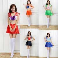 Sailor Moon Swimsuit Cosplay Costume Sailor Mercury Sailor Neptune Sailor Mars Sexy Bikini Halloween Party Performance Dress