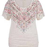 Plus Size - Ethnic Print Graphic Tee With Stud Detail - Multi
