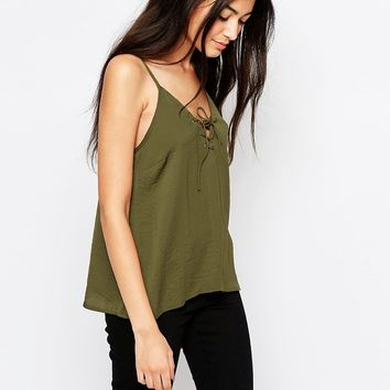 Wyldr Dont Cross Me Camisole Top With Lace Up Front