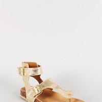 Qupid Metallic Double Buckle Thong Footbed Sandal