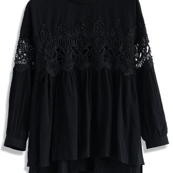 Lace Cutout Babydoll Tunic in Black