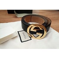 GUCCI Women Men Metal GG Smooth Buckle Leather Belt I