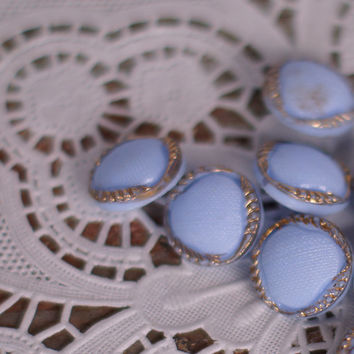 "Vintage Buttons Set of 5 Small Round Blue & Gold 'Pillow' Style Retri Dress Buttons or Shirt Buttons 1/2"" Pastel Cornflower Blue"