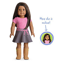 American Girl® Dolls: Medium skin, textured dark brown hair, brown eyes